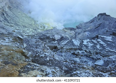 Kawa Ijen Volcano crater,java Indonesia.