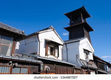 Kawagoe city, Saitama Prefecture, Japan,  February, 2019, Toki no Kane(The Bell of Time), Old cityscape of Kawagoe city