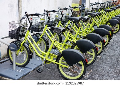 KAWAGOE, JAPAN -  NOVEMBER 28, 2016: Bicycle for rent is local business in small city, visitor and traveler can use to city tour by yourself.