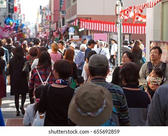 KAWAGOE, KANTO, JAPAN - OCTOBER 15, 2016: Travelers visited float festival of Kawagoe Matsuri that held on 3rd Saturday and Sunday of October. This historical city is also known as Koedo or Little Edo