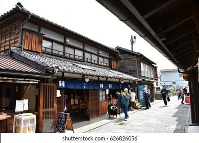 Kawagoe, Saitama, Japan - 24th April 2017. Streets and clay walled warehouse style buildings of Kawagoe town originating from Japan's Edo Period. Kawagoe town is also known as Little Edo.