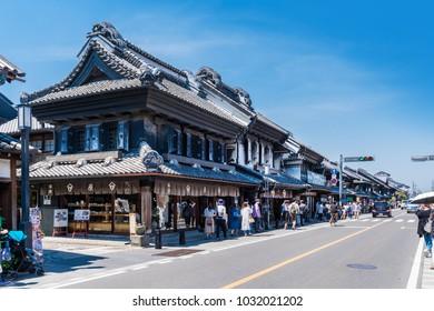 KAWAGOE, SAITAMA / JAPAN - JUNE 16 2017 : Old cityscape of Kawagoe city, Saitama prefecture.