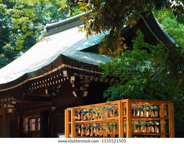 Kawagoe  Saitama, Japan/JUL 18,2018 :Scenery of wind chime fes in Kawagoe Hikawa shinto shrine. Wind chimes are written with various wishes and swaying in the wind.