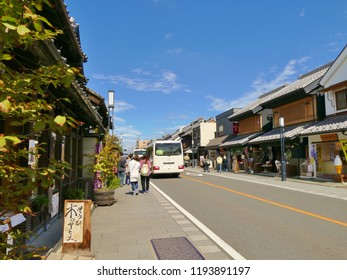 Kawagoe, Saitama/Japan - September 22th, 2018 the old town street with a lot of shop along the street on the bright day during summer time.
