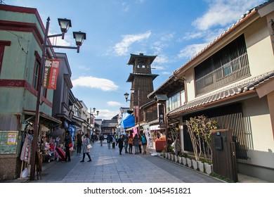 KAWAGOE,SAITAMA PREFECTURE,JAPAN - FEBRUARY 3 ,2016 : Ancient Bell Tower and tourists in ancient Edo at Kawagoe ,Japan