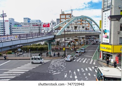 KAWAGOE,SAITAMA PREFECTURE,JAPAN - FEBRUARY 3,2016 : the old bridge and city view in Kawagoe,Saitama Prefecture,Japan