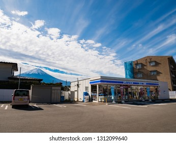 Kawaguchi, Japan - November 1, 2018: Lawson, convenience store franchise chain in Japan with Mount Fuji in background.