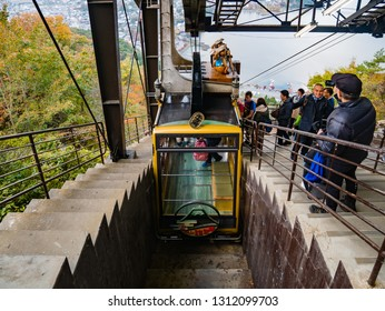 Kawaguchi, Japan - November 1, 2018: Tourists are waiting for cable car on Kachi Kachi ropeway near lake Kawaguchi, Japan