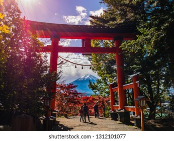 Kawaguchi, Japan - November 1, 2018: Fuji mountain view from Chureito Pagoda in autumn.