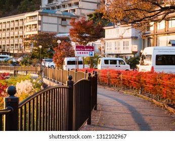 Kawaguchi, Japan - November 1, 2018: Cityscape near Kawagichiko lake, Yamanashi, Japan. Lake Kawaguchi is part of Fuji Five Lakes in Fuji-Hakone-Izu National Park