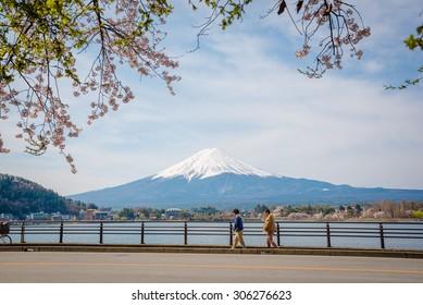 KAWAGUCHIKO, JAPAN- 12 APRIL 2015:  Mountain Fuji in spring ,Cherry blossom Sakura