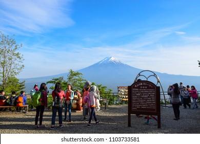 KAWAGUCHIKO, JAPAN - MAY 12: Tourists having great time at Tenjo-Yama Park Mount Kachi Kachi Ropeway with Mount Fuji in background at Kawaguchi, Yamanashi Japan