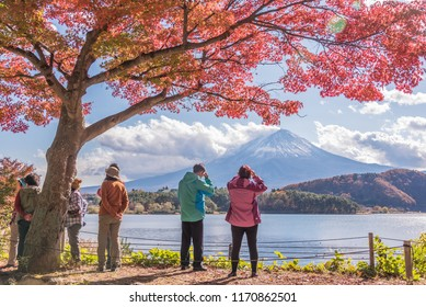Kawaguchiko, Japan : November 16, 2017 : The travellers visit autumn season at the Lake  Kawaguchiko, Japan.