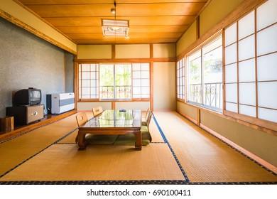 KAWAGUCHIKO,JAPAN - APRIL 14 : A traditional Japanese room with tatami mat in ryokan on the April 14,2014 in Kawaguchiko, Japan