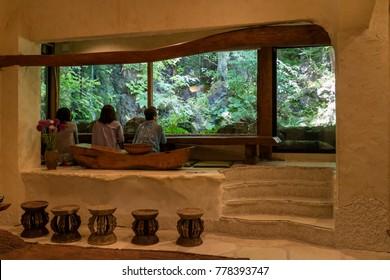 Kawaguchio - Japan, June 14, 2017:  The traditional tea-room, formerly Itchiku Kubota's workshop in the  Kubota Itchiku Art Museum