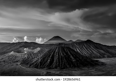kawah Bromo, Mount Bromo in Semeru National Park, is an active volcano and part of the Tengger massif, monochrome photography. soft and grain image.