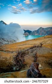 Kawah Ijen volcanic crater with lake at morning dawn, Java, Indonesia