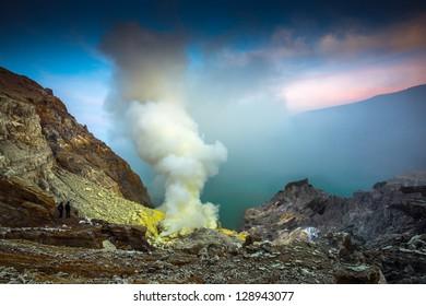 kawah ijen volcano in sunrise