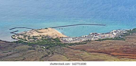 Kawaihae, Hawaii/USA - January 14 2020: seen from the air, Kawaihae Harbor includes a fuel depot, shipping terminal and military landing site.