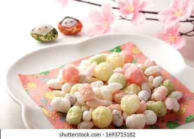 "Kawaii colorful sweet rice crackers ""Hina-arare "" on the table, for girl's festival ""Hina-matsuri' in Japan."