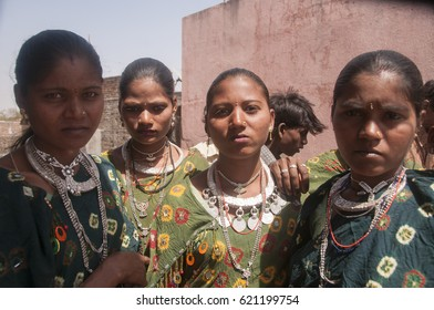 KAWANT, VADODARA, GUJARAT, INDIA, 26 MARCH 2016 : Unidentified Tribal women wearing their traditional cloths and same type of silver traditional ornaments at the annual tribal fair at Kavant.