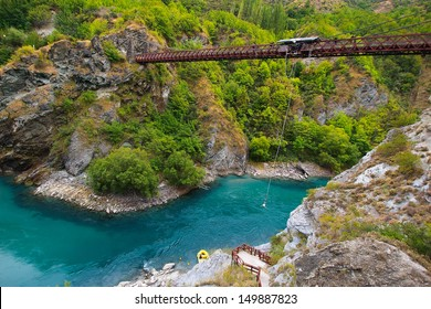 Kawarau Bridge near Queenstown. Commercial Bungy Jumping was born here in 1988 and every year tens of thousands make the 43 meter jump.