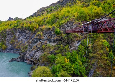 the Kawarau Gorge Suspension Bridge ,It is one the site of bungy jumping located in Central Otago, in the South Island of New Zealand.
