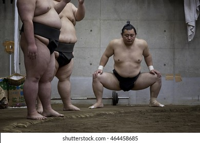 KAWASAKI, JAPAN - 18 MAY 2016 - Kasugayama-beya Sumo Stable. Young Japanese Sumo wrestlers at their morning routine training.