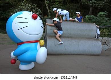 Kawasaki, Japan - August 23, 2012 : Fujiko F Fujio Museum or Doraemon Museum exhibits his most famous cartoon characters.
