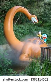 Kawasaki, Japan - August 23, 2012 : Doraemon and Nobita sculpture is the famous at Fujiko F Fujio museum or Doraemon Museum.