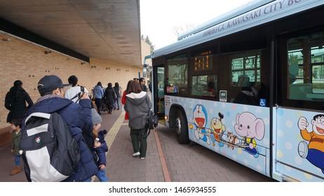 Kawasaki, Japan - Feb 28, 2018: Travelers and visitors are taking The special shuttle bus transfer from JR East Noborito Station (JN14) to Fujiko F Fujio Museum or Doraemon Museum.