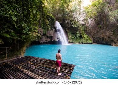 Kawasan waterfalls located on Cebu Island, Philippines - Beautiful waterfall in the jungle