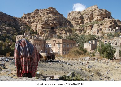 Kawkaban, Yemen - December, 29, 2010: view of the streetlife in the remote village