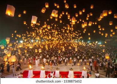 Kawthaung,Myanmar,2019,October,20,Buddhism lantern ceremony at the Kawthaung province