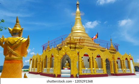 Kawthoung, MM - MAY 9, 2017: The Buddhist temple named Pyi Daw Aye pagoda that build on the top of mountain in Myanmar.