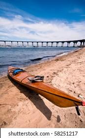 Kayak, beach and Coronado Bridge