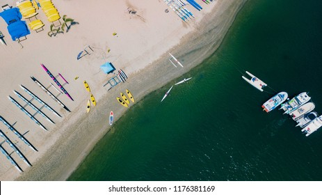 Kayak and Boat Landing Beach Back Bay Newport Beach Drone Aerial 4K