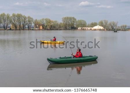 Kayak Fishing Lake Two Fisherwomen On Stock Photo (Edit Now
