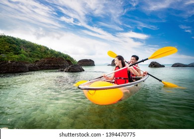 Kayak in Koh Kham near Koh Mak and Koh Kood in Trat, Thailand, This image can use for travel, summer, beach, spart, relax, and holiday concept