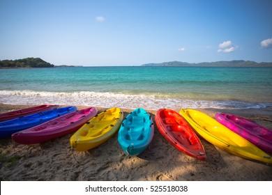 Kayak multi-colored beach