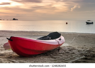 Kayak on the beach at sunset.Koh Mak , Trat Thailand.