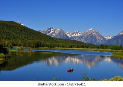 Kayak on Jackson Lake in Wyoming
