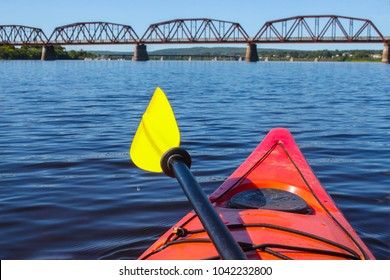 Kayak on the Saint John River  near downtown Fredericton, New Brunswick in The Maritimes or Atlantic Canada