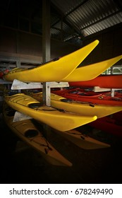 Kayak on the shelves provided in the store.