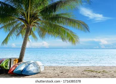 Kayak am sonnigen tropischen Strand mit Palmen auf Koh Kood, Insel, Thailand.