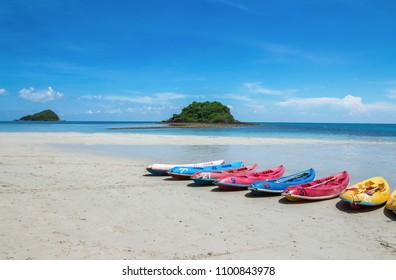 Kayak park is a row on the beach in tropical country,Nang Ram Beach and Nang Rong Beach , sattahip, thailand