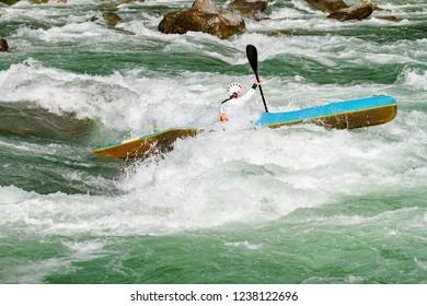 kayak race on the rapid