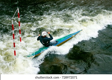 kayak races on the wild river