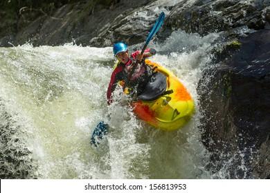 kayak raft river water whitewater waterfall white extreme sport rapid waterfall kayak jump sangay national park ecuador kayak raft river water whitewater waterfall white extreme sport rapid color colo