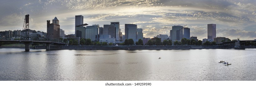 Kayaking Along the Willamette River in Portland Oregon Downtown Waterfront Panorama